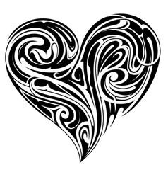 tribal heart shape tattoo design vector image