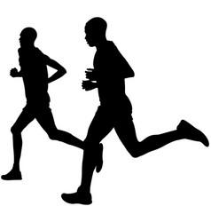 Two kenyan runner athlete vector
