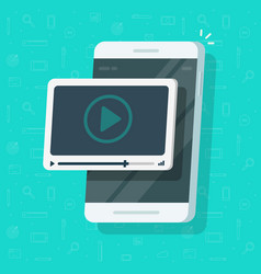 video on mobile phone flat cartoon vector image