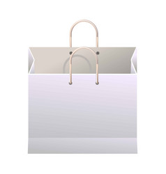 White paper shopping bag with thin handles vector