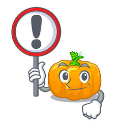with sign yellow pumpkin above wooden mascot table vector image