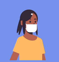 woman wearing face mask environmental industrial vector image