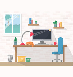 Work place in flat style computer on working vector