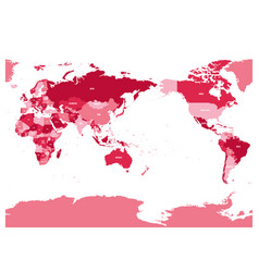 World map in four shades of maroon on white vector