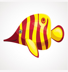 yellow aquarium soap cartoon fish drawing vector image