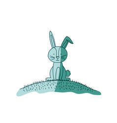 aquamarine hand drawn silhouette of bunny sitting vector image vector image