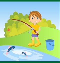 little boy fishing vector image vector image
