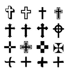 black crosses icon set on white background vector image