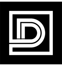 Capital letter D From white stripe enclosed in a vector image vector image