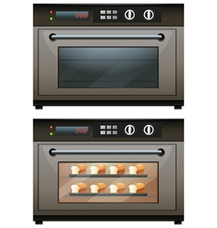 Electric oven with toasted bread vector image