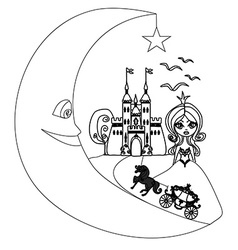 medieval castleprincess carriage and the Moon - vector image
