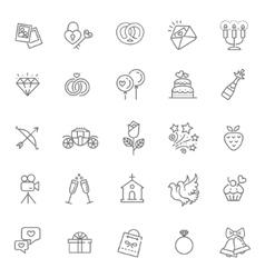 Outline web icon set wedding vector image