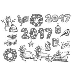 sketch symbols for 2017 Christmas New Year vector image