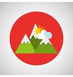 snowy mountains sun weather concept design vector image
