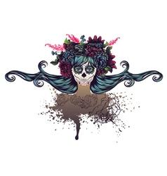 Sugar Skull Girl in Flower Crown6 vector image vector image