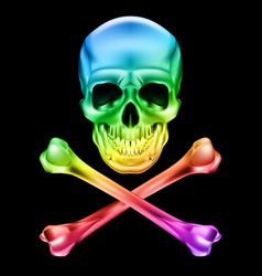 abstract skull and crossbones on black vector image vector image