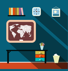 flat design long shadow studying room with world vector image