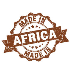 made in africa round seal vector image vector image