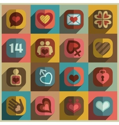 Modern flat heart valentine icons vector image
