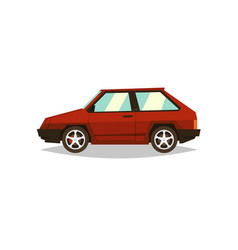 Red car hatchback side view gas engine alloy vector