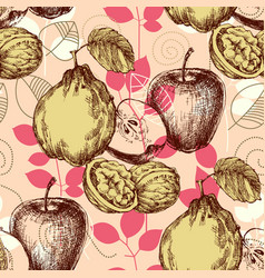 Retro pattern autumn fruits and foliage background vector
