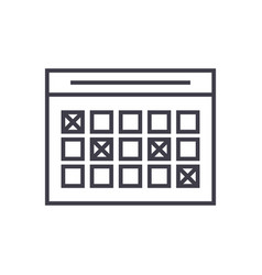 timetable linear icon sign symbol on vector image