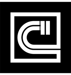 Capital letter C From white stripe enclosed in a vector image