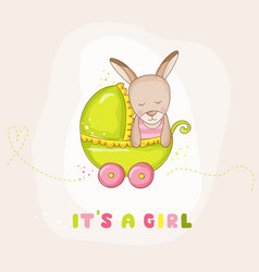 cute baby girl kangaroo in a carriage baby shower vector image vector image