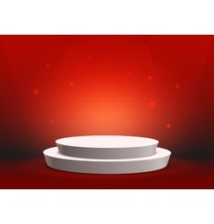 Empty template of white round podium on red vector image