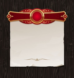 golden frame with paper banner vector image