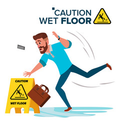 Man slips on wet floor caution sign vector