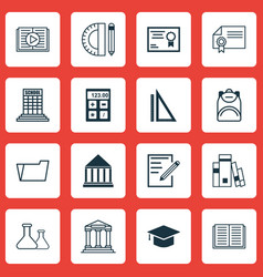 set of 16 school icons includes chemical vector image vector image