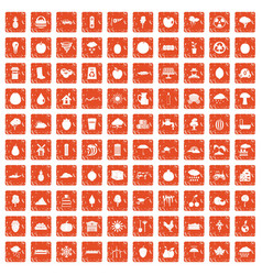 100 fruit icons set grunge orange vector