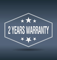 2 years warranty hexagonal white vintage retro vector