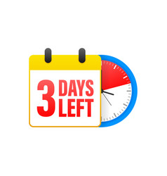 3 days left calendar clock icon symbol vector