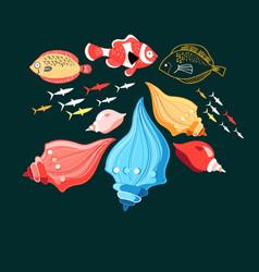 a fish and shells vector image