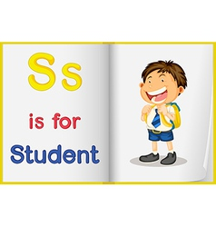 A picture of student in book vector