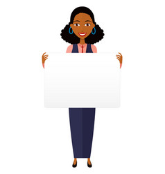 African business woman holding sign or banner vector