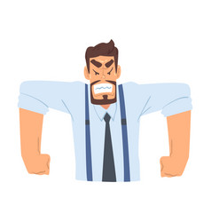 Angry aggressive businessman funny office worker vector