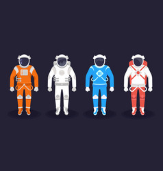 Astronaut and cosmonaut on dark background vector