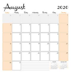 August 2020 monthly calendar planner printable vector