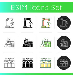Automation agronomy icons set vector