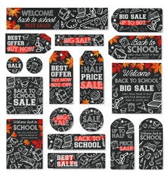 Back to school sale tag and discount label design vector