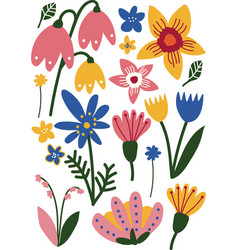 beautiful colorful wild and garden blooming vector image