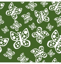 Beautiful seamless butterflies pattern in green vector image