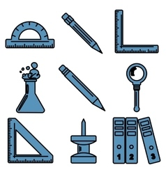 Black school goods linear icons part 3 vector