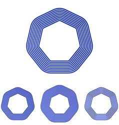 Blue heptagon logo design set vector