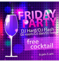 Bright Friday party free cocktail flyer template vector