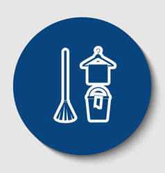 broom bucket and hanger sign white vector image