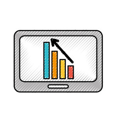 Business tablet with financial chart economy data vector